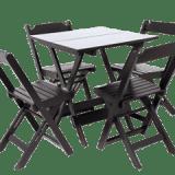 Conjunto Mesa e Cadeira de Madeira Preto