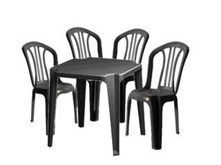 jogo mesa e cadeira de plastico preto