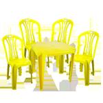 Mesa e Cadeira de Plástico Amarelo