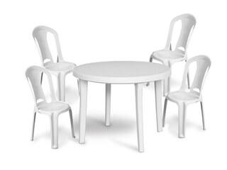 Conjunto Cadeiras e Mesa de Plástico Desmontável Redonda