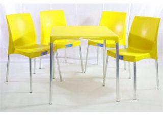 jogo mesa e cadeira de plástico jasmim amarelo