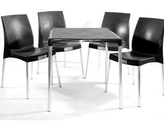 jogo mesa e cadeira de plástico jasmim preto