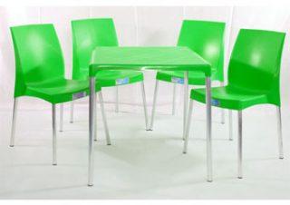 jogo mesa e cadeira de plástico jasmim verde