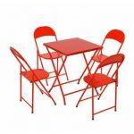 mesa e cadeira de aço dobrável vermelha