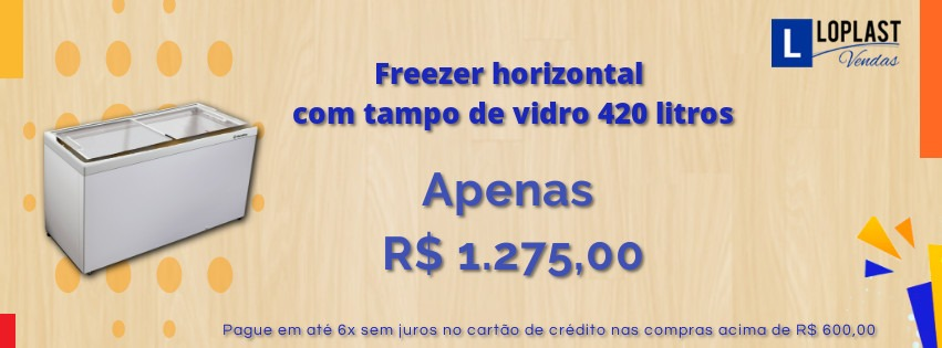 Freezer Horizontal com tampo de vidro
