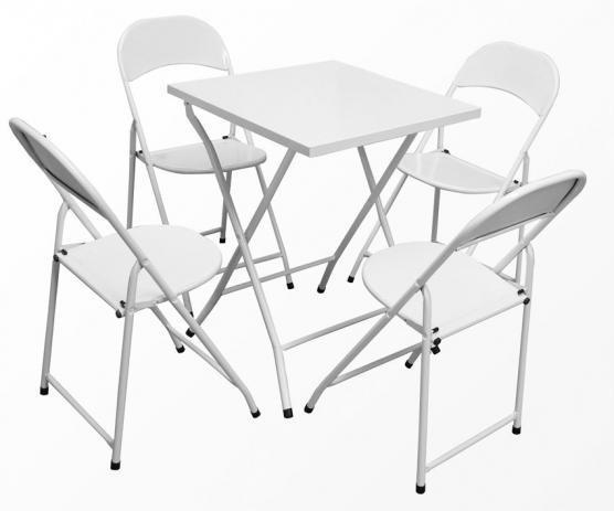 mmesa e cadeira de aço dobrável branca