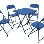 mesa e cadeira de aço azul